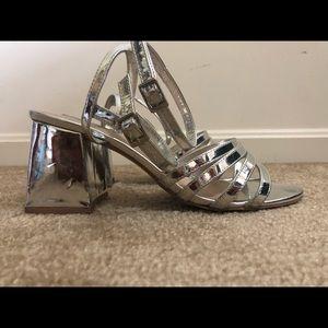 Metallic heeled sandals
